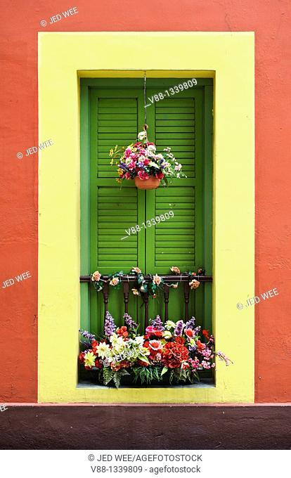 Window detail of artificial flowers at a restored shophouse, Bugis, Singapore