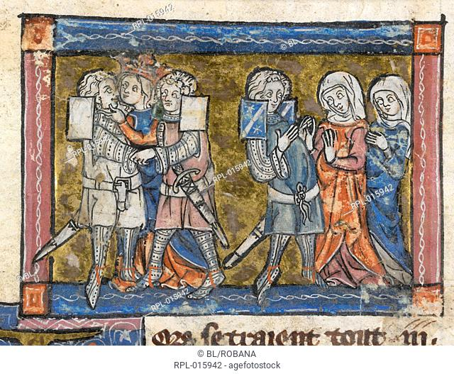Lancelot and Guinevere kiss, Miniature The first kiss of Lancelot and Guinevere in the presence of Galehot and the Lady of Malohaut