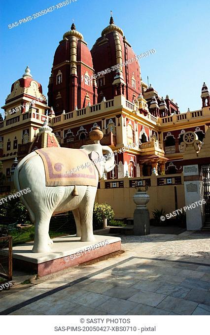 Elephant statue outside a temple, Lakshmi Narayan Temple, New Delhi, India