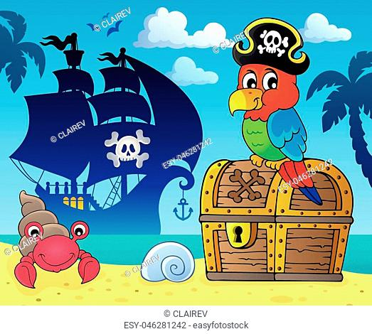 Pirate parrot on treasure chest topic 3 - eps10 vector illustration