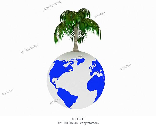 3d render of tree on earth. Isolated on white background
