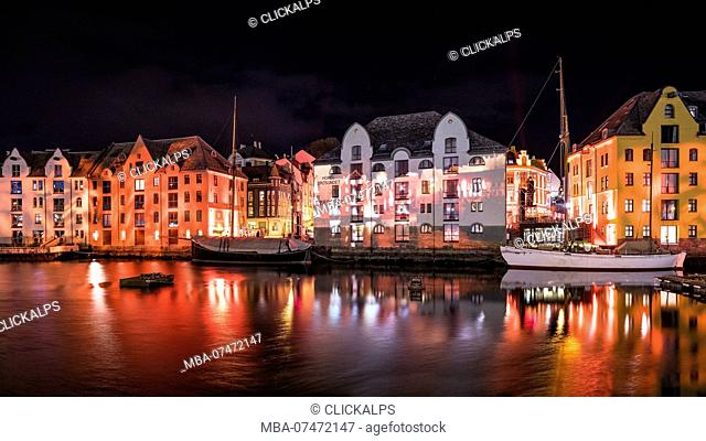 Alesund by night during 'Brosundet Burns' light show - 114 years anniversary of the big city fire in Ålesund, Norway