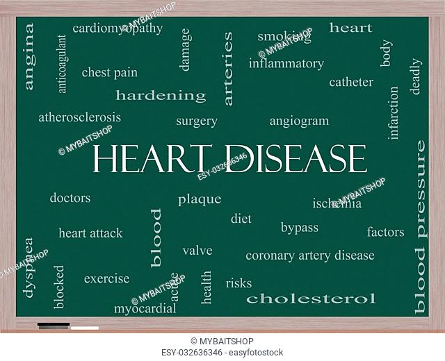 Heart Disease Word Cloud Concept on a Blackboard with great terms such as plaque, ischemia, factors and more