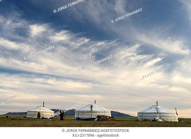 Landscape of the Mongolian steppe with yurts, Mongolia, Asia