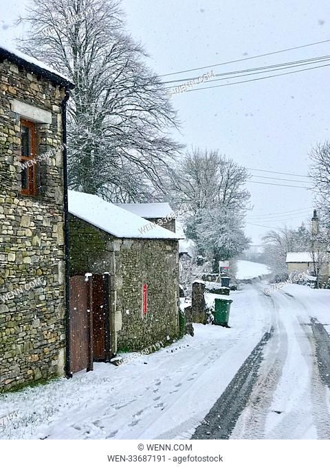 Heavy snowfall today in the North of England sets the scene for a winter wonderland in rural Cumbria Featuring: Atmosphere Where: New Hutton, Cumbria