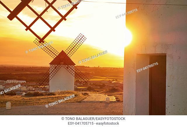 Mota del Cuervo windmills in Cuenca at Castile la Mancha of spain