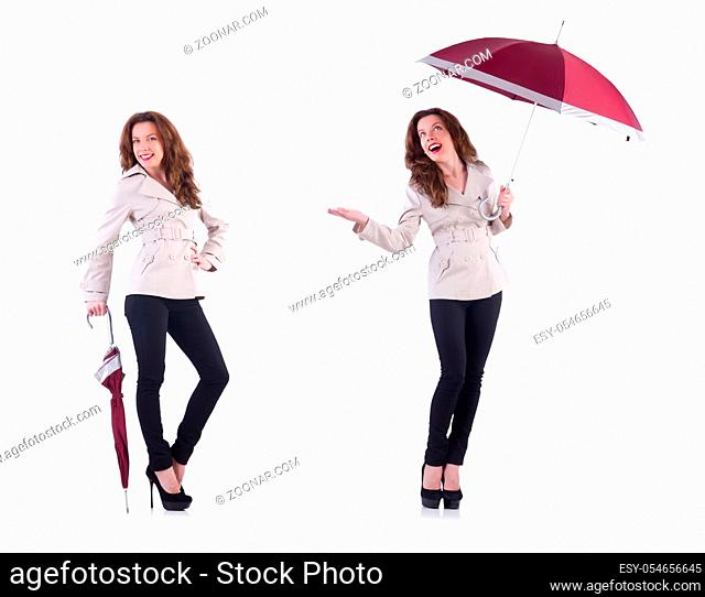 The woman with umbrella isolated on white
