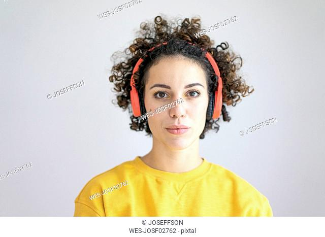 Portrait of woman wearing headphones