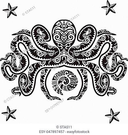 Octopus tattoo in Maori style. Vector illustration EPS10