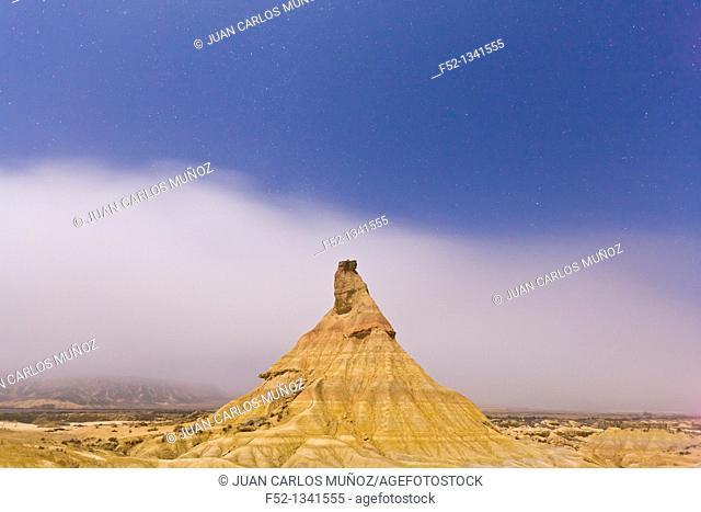 Castildeterra typical rock formation, Bardenas Reales, Navarra, Spain