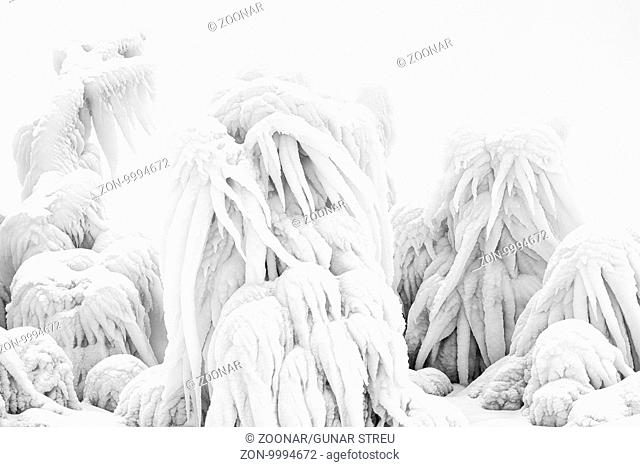 Ice formations, Lake Tornetraesk, Lapland, Sweden