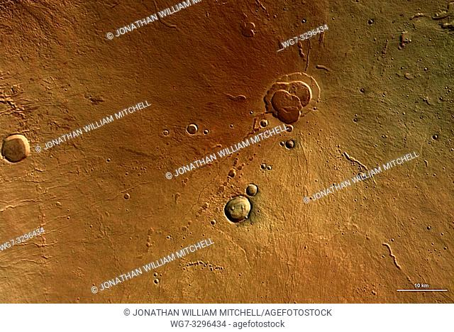 MARS Hecates Tholus -- 01 Mar 2004 (ESA release date) -- This undated colour image of the Hecates Tholus volcano was taken by the High Resolution Stereo Camera...