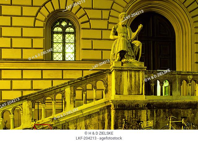 Europe, Germany, Bavaria, Munich, Bavarian State Library, exterior view, staircase with a sculpture in front of the entrance door