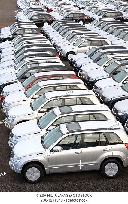 New Suzuki cars in customs area in Hamina Finland