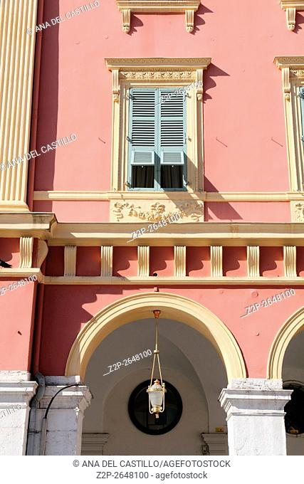 NICE, FRANCE - SEPTEMBER 19, 2015: Place Massena, on September 19, 2015 in Nice, France. The place is the most famous of the city because of its beauty
