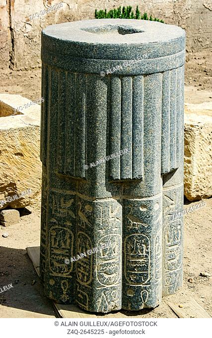 Egypt, Cairo, Heliopolis, open air museum, obelisk parc. Piece of a column, with king Merenptah cartouches