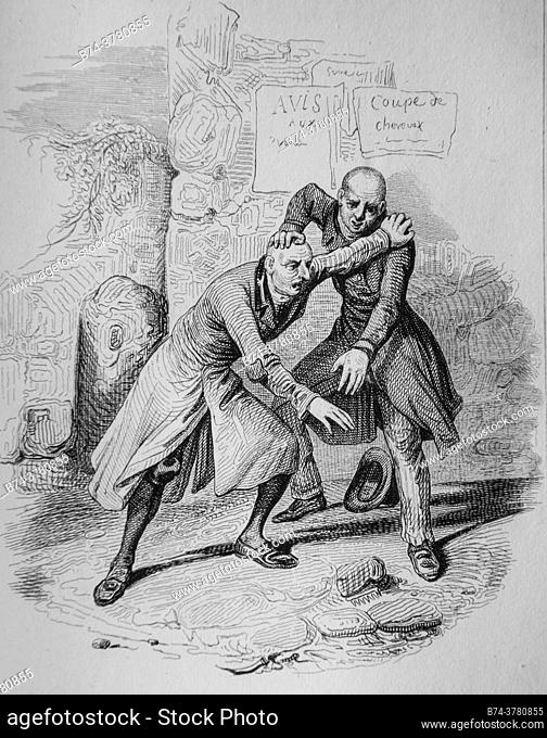 the two bald, florian fables illustrated by victor adam, publisher delloye, desme 1838