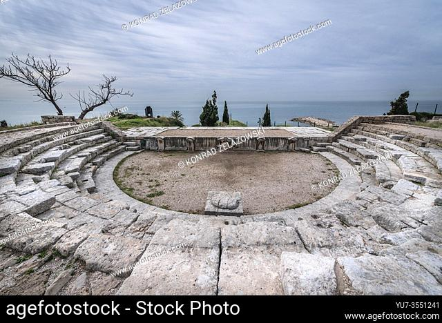 Roman theater next to crusader castle in Byblos, largest city in the Mount Lebanon Governorate of Lebanon