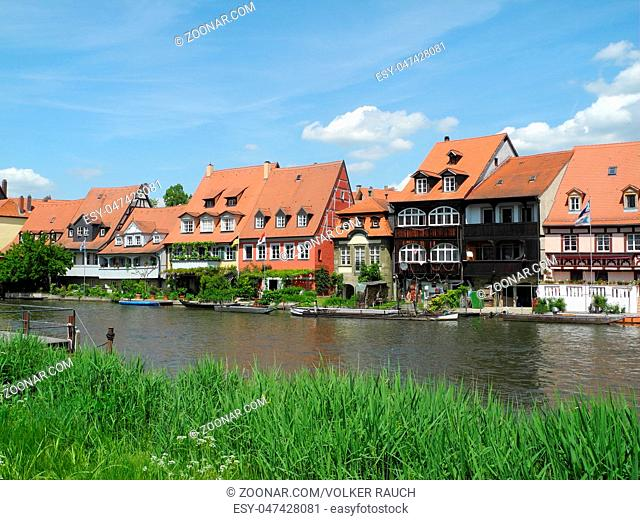 Regnitz, Bamberg, franken, bayern, fluss, bach, haus, klein-venedig, klein venedig, fischerviertel, häuser, ufer, historisch, altstadt, innenstadt