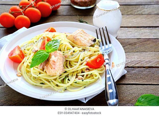 pasta with tuna slices, food closeup