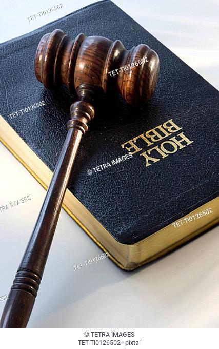 Judge's gavel on bible