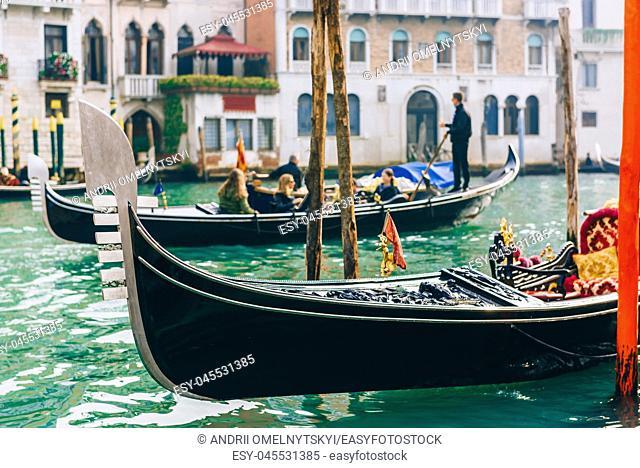 Gondola on the Grand canal of Venice Italy