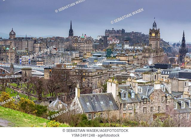 A view from Calton Hill over Edinburgh, City of Edinburgh, Scotland, United Kingdom, Europe
