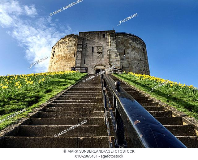 Steps up to Cliffords Tower in Spring York Yorkshire England