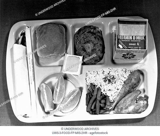 Washington, D.C.: June 1, 1966.A Type A school lunch as specified by the Dept. of Agriculture, with a protein food, fruits, vegetables, bread and butter