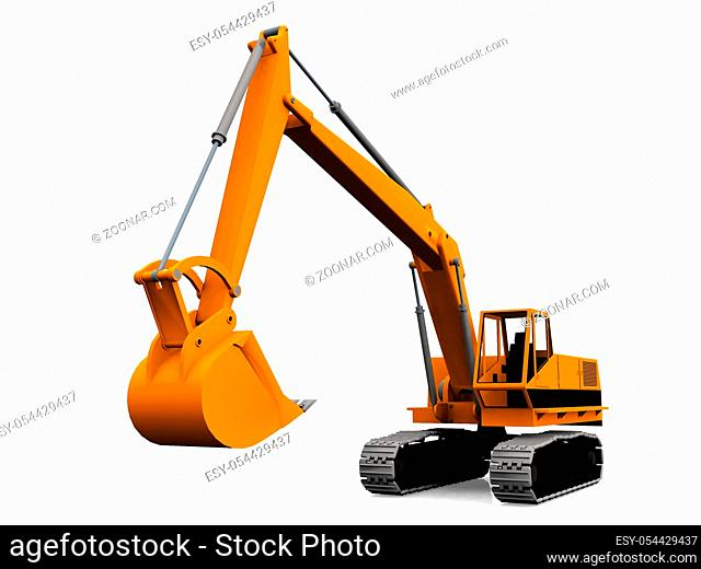 mechanical excavator on a white background