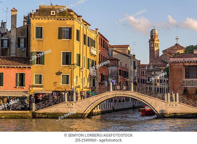 Grand Canal at golden hour, Venice, Veneto, Italy