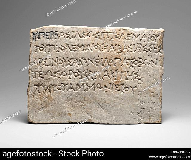 Inscribed limestone votive plaque. Period: Hellenistic; Date: late 3rd century B.C; Culture: Greek, Ptolemaic; Medium: Limestone