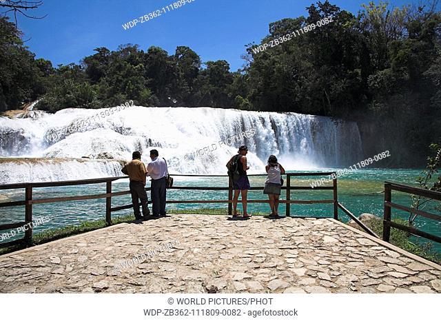Cascada Agua Azul, Agua Azul Waterfall, Parque Nacional Agua Azul, near Palenque, Chiapas, Mexico Date: 02 04 2008 Ref: ZB362-111809-0082 COMPULSORY CREDIT:...