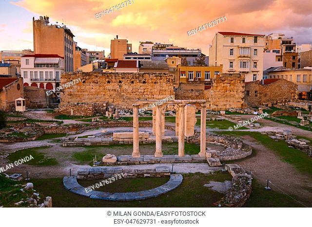 Remains of Hadrian's Librari in Monastiraki neighborhood of Plaka in Athens, Greece.