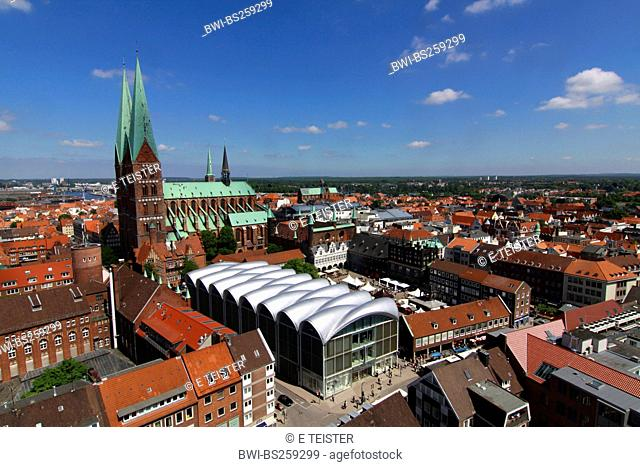 view from St. Peter's Church at the city hall and St. Mary's Church, Germany, Schleswig-Holstein, Luebeck