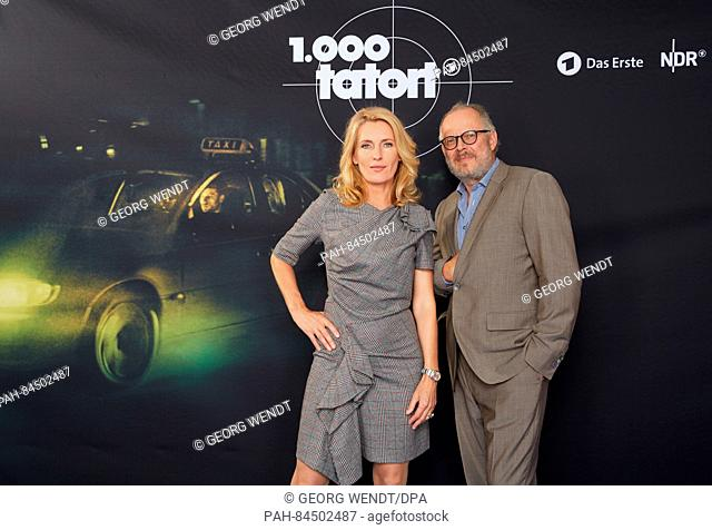 "The actors Maria Furtwaengler and Axel Milberg pose at a photo call for the 1000th episode of the German crime series """"Tatort"""" (lt"