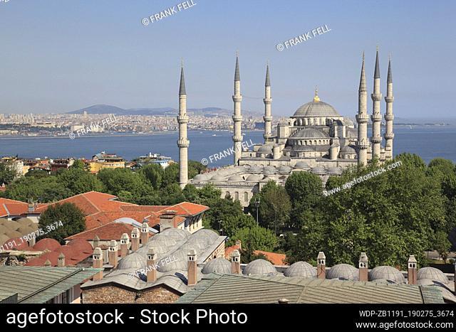Turkey; Istanbul; Sultanahmet District; Blue Mosque; Domes & Minarets