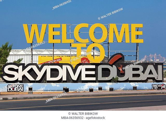 UAE, Dubai, Dubai Marina, Jumeirah Beach, sign for Skydive Dubai