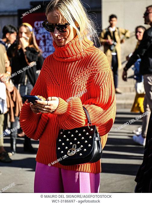 PARIS, France- September 26 2018: Thora Valdimars on the street during the Paris Fashion Week