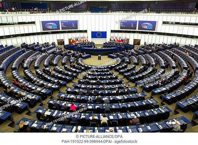 22 October 2019, France (France), Straßburg: The plenary chamber during the debate on the outcome of the meeting of EU Heads of State and Government in the...