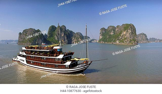 Vietnam, Asia, Far East, Halong bay, cliff formation, rock, cliff, coast, boat, ship, traveling, place of interest, landmark