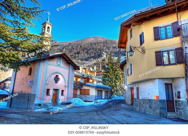 Church on small street in Limone Piemonte