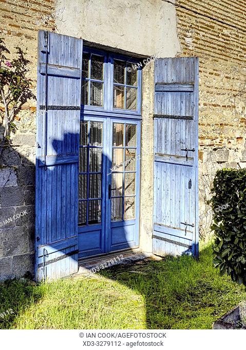blue double doors, Clairac, Lot-et-Garonne Department, Nouvelle Aquitaine, France