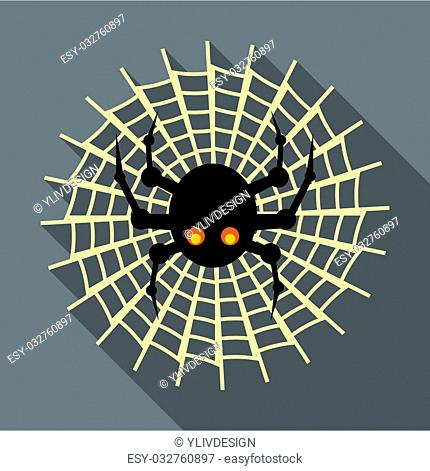 Spider on cobweb icon in flat style with long shadow. Insect symbol illustration