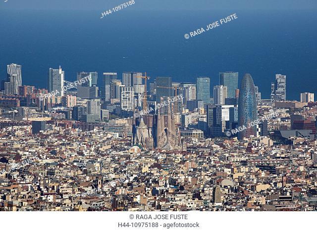 Barcelona, City, Diagonal Mar, Sagrada Familia, church, Spain, Europe, architecture, autumn, Catalonia, panorama, skyline, touristic, travel