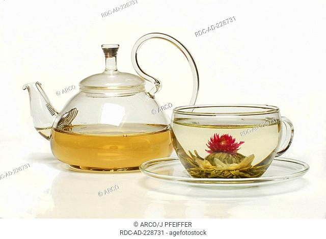 Cup of flower tea, tea blossom 'Petite Princesse', White Tea with Jasmine and Amaranth blossoms, teapot