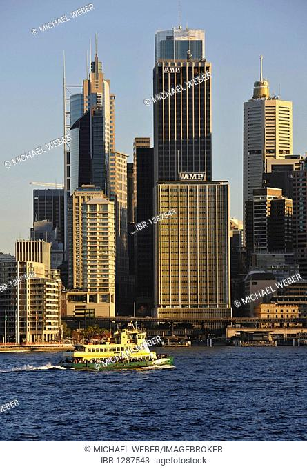 View of Sydney Cove, ferry off Circular Quay, port, skyline of Sydney, Central Business District, Sydney, New South Wales, Australia