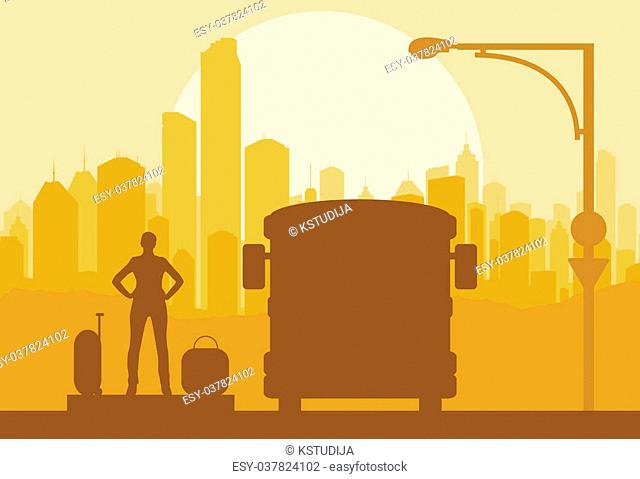 Passenger bus and waiting traveler with luggage in front of city vector background
