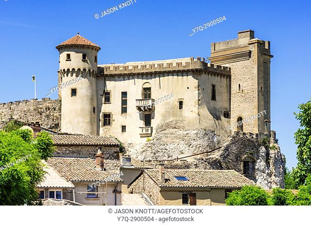 Château de Châteaubourg in the village of Chateaubourg in the Ardèche overlooking the Rhône, Auvergne-Rhône-Alpes, France