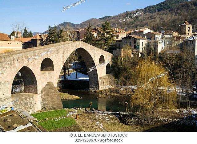 Besalu Bridge. Girona province. Catalonia. Spain